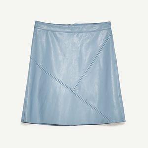 Zara Faux Leather Blue Skirt